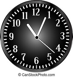 silver wall clock with black face. vector