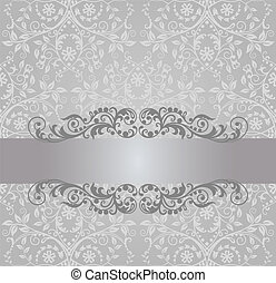 Silver wallpaper and swirls banner - Seamless silver foliage...
