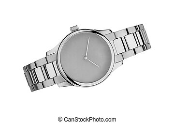 Silver watch isolated on white