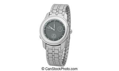 Silver watch - Presentation of silver chronograph wrist...