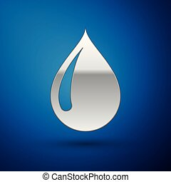 Silver Water drop icon isolated on blue background. Vector Illustration