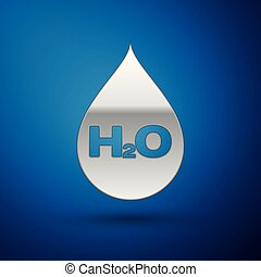 Silver Water drop with H2O icon isolated on blue background. Water formula. Vector Illustration
