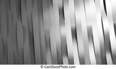 Silver waving stripes. 3d rendering. - Camera flyby over...
