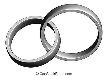 Wedding bands - Silver Wedding bands intertwined - clipping...