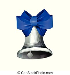 Silver Wedding Bell with Blue Ribbon vector