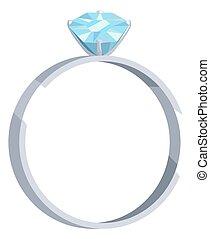 Silver wedding ring with blue diamond vector icon