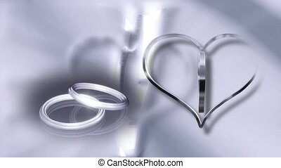 Silver Wedding Rings and Hearts