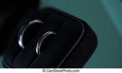 Silver Wedding Rings macro closeup shoot diamon Jewellery -...