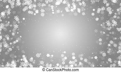 Silver White confetti snowflakes bokeh lights frame border red Merry Christmas loop background.