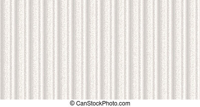 Silver white crimp fence background. Ribbed metallic surface. Wavy iron wall pattern. Fluted metal fencing backdrop. Corrugated metal texture.