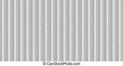 Silver white wavy iron wall pattern. Fluted metal fencing backdrop. Corrugated metal texture. Crimp fence background. Ribbed metallic surface.