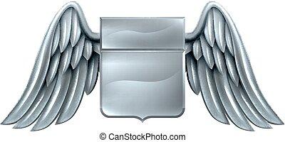 Silver Winged Shield Scroll Design