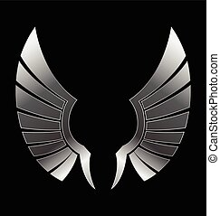 Silver Wings - Illustration of a silver wing