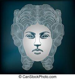 Silver woman portrait, zodiac Virgo sign
