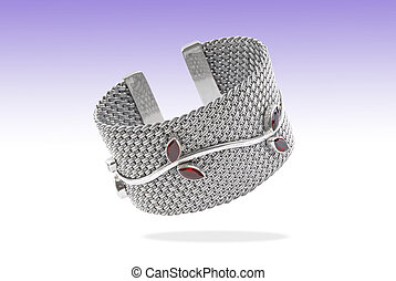a womens Bracelet with rubies floating on a blue fade background