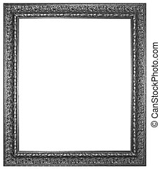 Silver wooden frame for painting or picture isolated on white background
