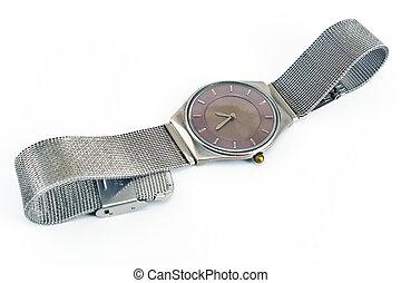 Silver wrist watch on white background