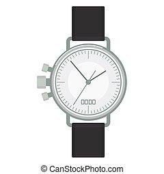 silver wristwatch image - Solid elegant silver men wrist...