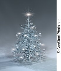 A Silver Xmas tree with blinking lights