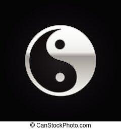 Silver Yin Yang symbol icon on black background. Vector Illustration
