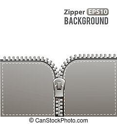 Silver zipper vector background - Silver steel metal zipper...