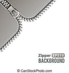 Silver zipper vector background - Silver steel metal zipper ...