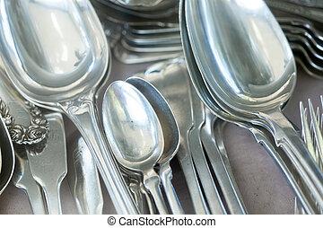 silversaker, till salu, hos, loppmarknad