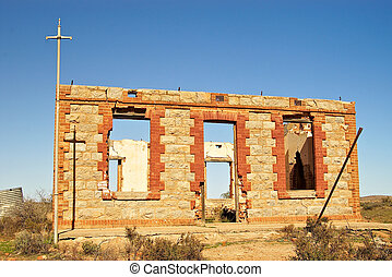 silverton ruins - an old ruined building typical of historic...