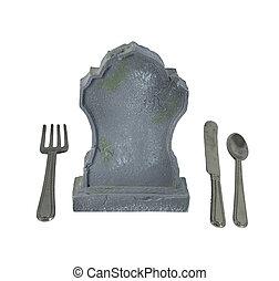Silverware and Headstone