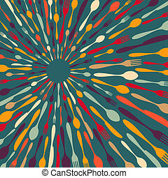 Multicolored silverware radial contemporary background. Vector illustration layered for easy manipulation and custom coloring.