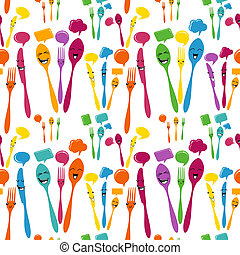 Silverware icons seamless pattern - Colors cutlery icon...