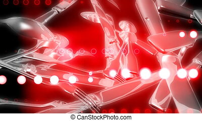 Silverware Red Abstract Looping Animated Background