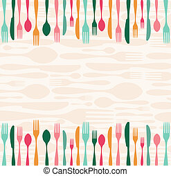 Silverware seamless pattern - Multicolored silverware...