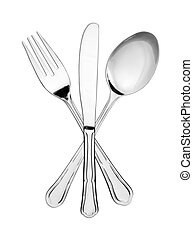 Silverware symbol - Crossed fork, spoon and knife isolated...