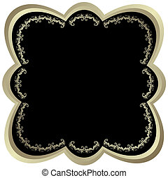 Silvery and black frame with  vintage ornament (vector)