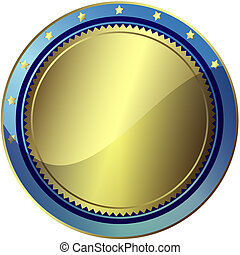 Silvery and blue circle award with gold stars (vector)