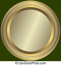 Silvery and golden  plate with  vintage an ornament on edges