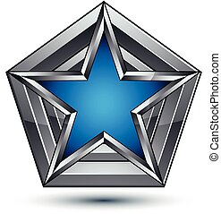 Silvery blazon with pentagonal blue star, can be used in web and graphic design, clear EPS 8 vector. Heraldic silver symbol, 3d coat of arms.