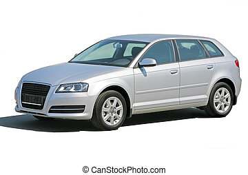 silvery car isolated - silvery beautiful modern car isolated...