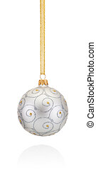 Silvery decorations Christmas ball hanging on golden braid Isola