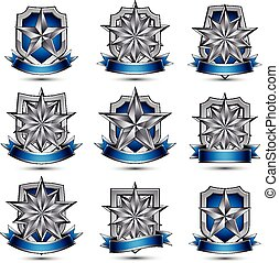 Silvery heraldic 3d glossy icons