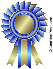 Silvery medal with blue ribbon (vector) - Silvery medal with...