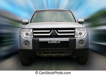 Silvery off-road car fast movement - off-road car driving on...