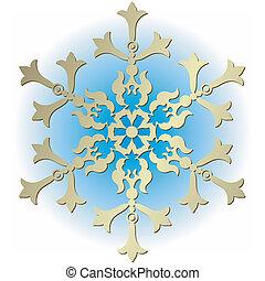 Silvery vintage snowflake