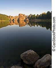 silvestre, lago, amanecer