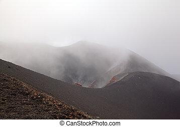 Silvestri crater of Etna volcano. Sicily, Italy