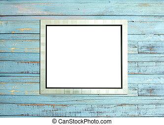 silvevintage, fotolijst, op, blauwe , hout, achtergrond
