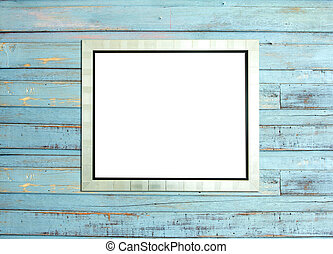 SilveVintage picture frame on blue wood background