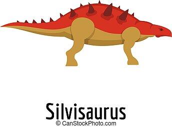 Silvisaurus icon, flat style.