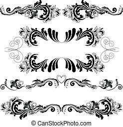 simétrico, 2, conjunto, ornamentos